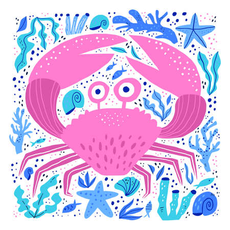 Cute sea crab hand drawn vector illustration. Adorable sealife cartoon character. Funny underwater wildlife, ocean animal with claws isolated on white background. Childish t shirt print design