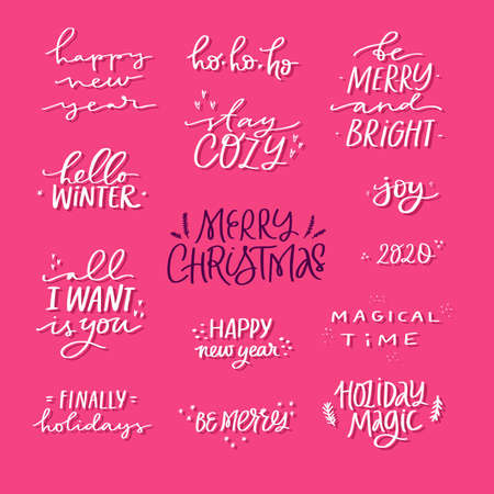 Christmas holidays vector white ink