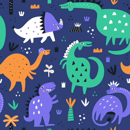 Cute dino made in vector. Dinosaur pattern illustration. Vector clipart for kids room or nursery background with fun characters
