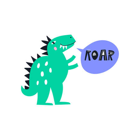 Cute dino made in vector. Dinosaur illustration. Vector clipart for kids room or nuresery poster with fun lettering quote. Ilustracja