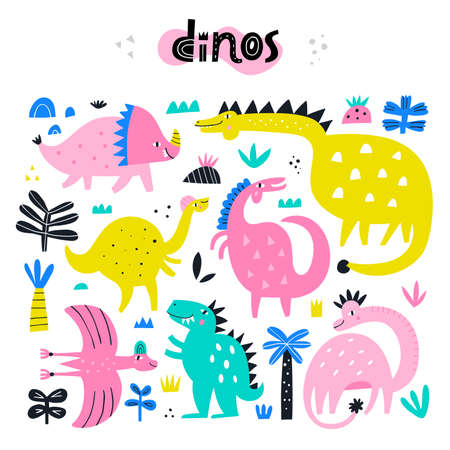 Collection of cute dinosaurs. Dino vector illustration. Cute character for nursery
