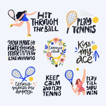 Tennis quotes, positive mottos flat letterings set. Athletes and sport facilities flat illustrations with typography pack. Handwritten credos inscriptions isolated doodle drawings collection Ilustracja