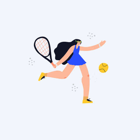 Girl with tennis racket flat vector illustration. Young woman playing tennis cartoon character isolated on white background. Female athlete with sports equipment doodle color drawing Ilustracja
