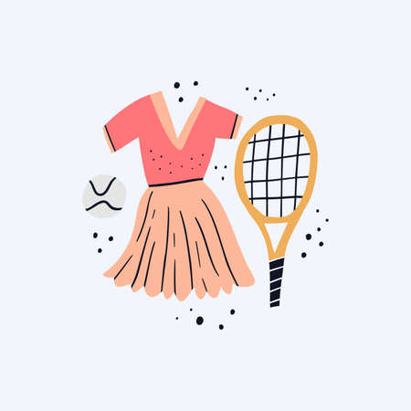 Sports dress, ball and racket flat vector illustration. Womens sportswear and tennis equipment doodle color drawing. Sports facilities, racquet and outfit isolated on white background