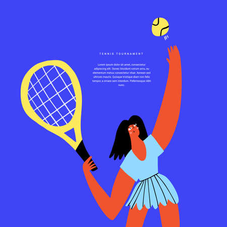 Tennis sports tourney flat vector banner template. Tournament, competition announcing poster design idea. Woman with ball and racket, female tennis player with sports equipment cartoon character