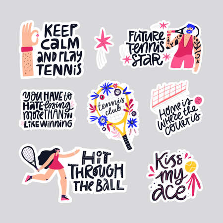 Tennis quotes hand drawn vector letterings set. Athletes and sport equipment flat illustrations with typography collection. Handwritten motivational phrases inscriptions isolated doodle drawings pack
