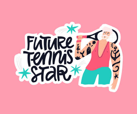 Future tennis star hand drawn vector lettering. Dreaming male sportsman with tennis racket flat character. Athlete and handwritten quote inscription isolated doodle illustration with typography