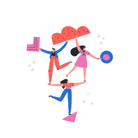 Girls and man on triangle flat vector illustration. Teamwork, support concept. Balancing people, businessman and businesswomen doodle drawing. Businesspeople with geometric shapes cartoon characters