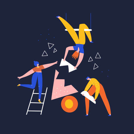 Team building, work, aid flat vector illustration. Partnership, problem solving concept. People with geometric shapes, women collecting puzzle doodle drawing. Coworkers isolated cartoon characters