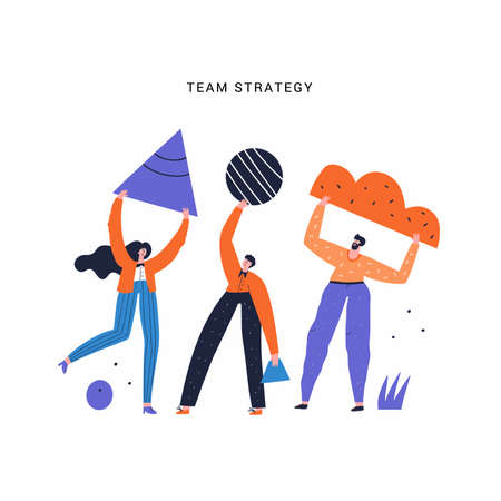 Team work, plan and strategy vector illustration. People holding geometric shapes doodle drawing. Teamwork, company promotion, business development concept. Businesspeople isolated flat characters Ilustracja