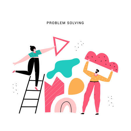 Team work and problem solving vector illustration. Partners, people with geometric shapes doodle drawing. Teamwork, cooperation concept. Woman on ladder and man holding cloud isolated flat characters Ilustracja