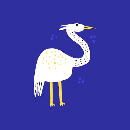 Funny exotic bird hand drawn vector illustration. Cute wildlife, white heron cartoon character. Adorable flying animal with long neck isolated on blue background. Childish t shirt print design