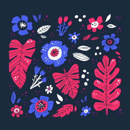 Flowers and leaves hand drawn vector illustration. Artistic flora, colorful plants doodle style drawing. Blooming flower buds and exotic foliage composition isolated on black background