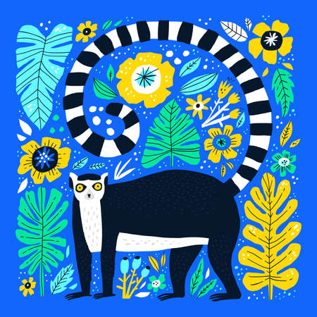 Cute lemur hand drawn flat vector illustration. Adorable catta cartoon character. Funny exotic animal with leaves and flowers isolated on blue background. Childish t shirt print design