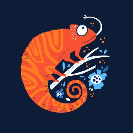 Orange chameleo hand drawn flat vector illustration. Funny bright iguana sitting on branch cartoon character. Cute chameleon isolated on dark blue background. Childish t shirt print design