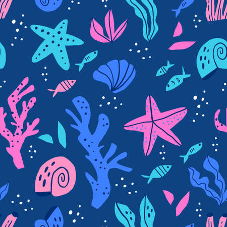 Sea flora and fauna flat vector seamless pattern. Ocean nature, sealife cartoon texture. Underwater animals and plants decorative background. Aquatic wallpaper, wrapping paper, textile design