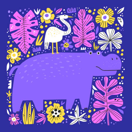 Cute hippo and bird flat vector illustration. Funny exotic animals hand drawn characters. Adorable hippopotamus, friendly behemoth isolated on blue background. Childish t shirt print design
