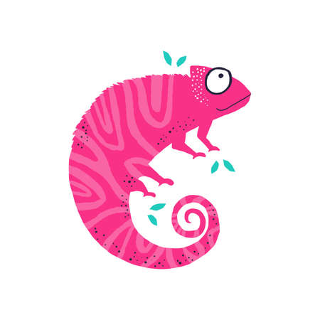 Cute little pink chameleo flat vector illustration. Funny iguana hand drawn character. Adorable animal, chameleon with bright camouflage isolated on white background. Childish t shirt print design
