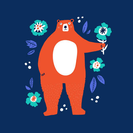 Funny bear holding flower flat vector illustration. Friendly forest animal with present hand drawn character. Adorable wildlife isolated on blue background. Childish t shirt print design Ilustracja