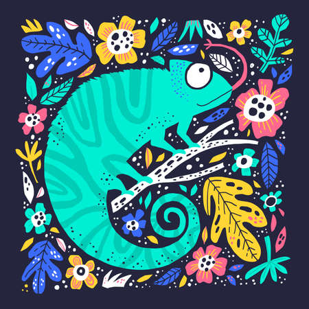 Cute little chameleo hand drawn flat illustration. Adorable reptile sitting on branch cartoon character. Funny chameleon in floral frame isolated on dark background. Childish t shirt print design Ilustracja