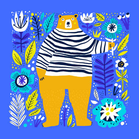 Cute bear holding flower flat vector illustration. Adorable forest wildlife hand drawn character. Funny animal in striped sweater isolated on blue background. Childish t shirt print design