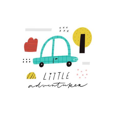 Little Adventurer handwritten text. Cute cartoon car, tree, bush with texture and doodle elements vector clipart. Blue baby automobile, motor vehicle. Adorable childish transport t shirt print design Illusztráció