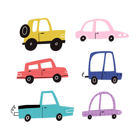 Hand drawn funny motor cars collection isolated on white background. Cute cartoon textured automobiles, suv, pickup truck clipart set. Childish various transport vehicles flat vector illustration Vecteurs