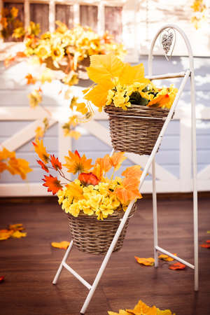 Baskets with yellow leaves and autumn flower