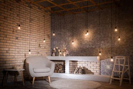 Design contemporaneo di soggiorno. stile loft