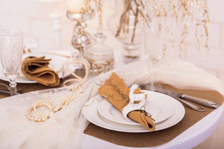 napkin ring: Served winter holiday table. Close-up. Stock Photo