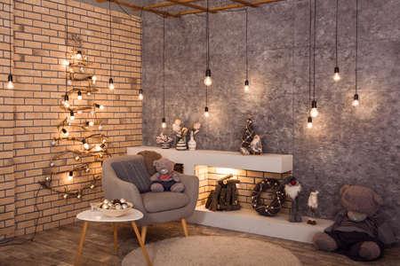 Winter Loft-Stil Zimmer mit original Woden Weihnachtsbaum, Glühbirnen Lichtgirlande dekoriert. Brennholz brennt im zeitgenössischen skandinavischen Kamin. Horizontal