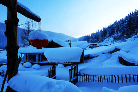 hometown: Evening of hometown of snow in China