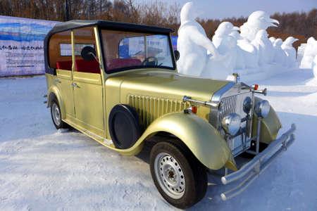 antique car: Antique car on the snow Editorial
