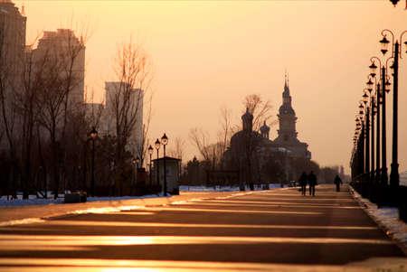 pedestrian: Evening street pedestrian