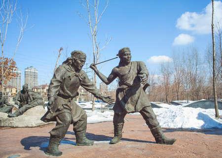 sculptures: Sculptures surrounding Akiyama fluttering hands