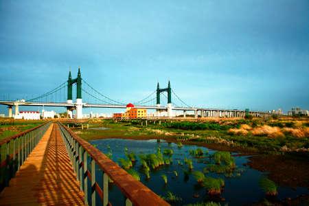 yang: Yang Ming wetland Boardwalk Beach bridge clouds