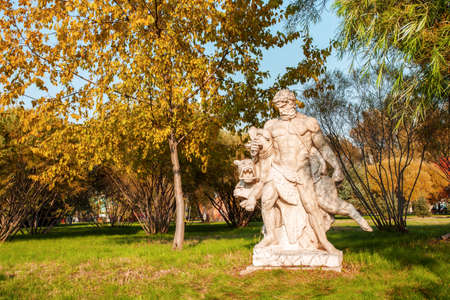 volga: Volga manor garden with sculpture