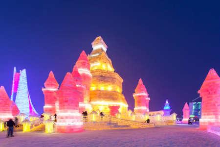 multicolor lantern: Harbin International Ice and Snow Sculpture Festival
