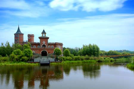 Volga manor zomerlandschap Stockfoto - 66995048