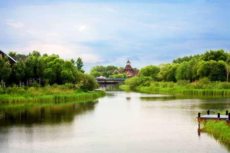 The Volga manor bridge view in summer
