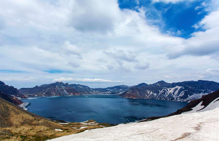 volcano slope: Panoramic view of the west slope of Tianchi Lake in Changbai Mountain Stock Photo