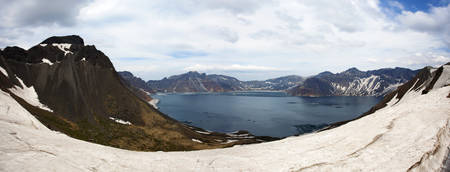 Panoramic view of the west slope of Tianchi Lake in Changbai Mountain Stock Photo