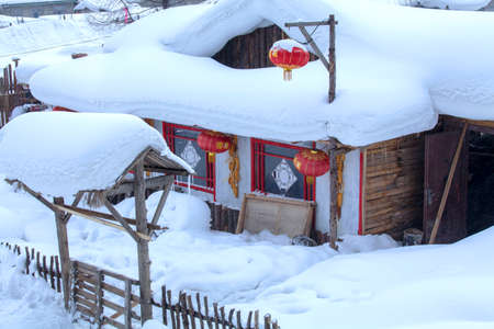 porch scene: village house covered with snow Editorial