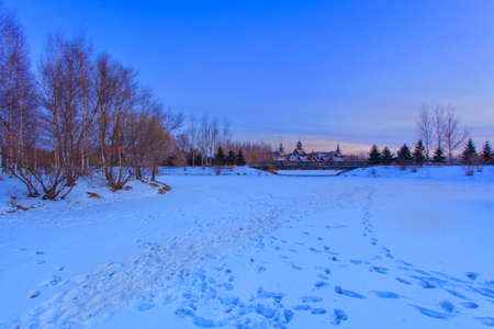 volga: Volga manor winter evening Stock Photo