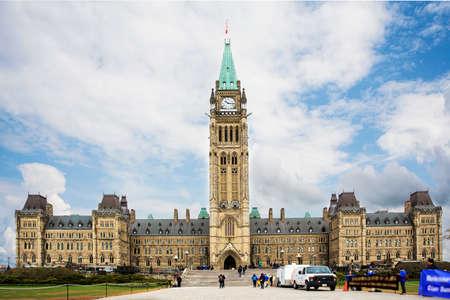 Facade of parliament building, Ottawa, Canada Editorial