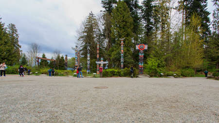 Totem of Vancouver Park, Canada Editorial
