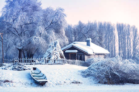 winter in the Volga manor farmhouse boat