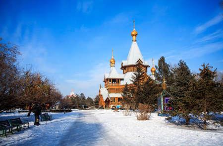 San Nicola church Volga manor in winter snow Editorial