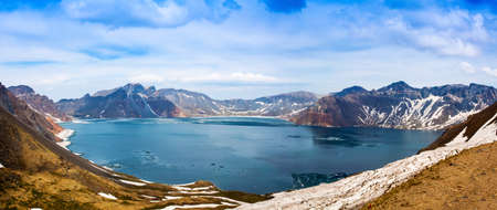 Changbai Mountain Tianchi panoramic summer snow mountain peak Lake
