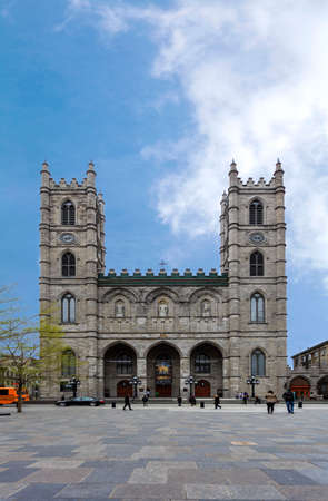 The main building of the outer front of the Basilique Notore?Dame in Montreal